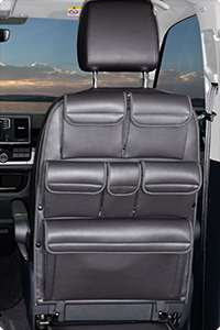 "UTILITY for cabin seats VW T6/T5 California Beach / Multivan. Design: ""Leather Titanium Black""."