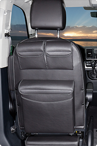 "UTILITY with MULTIBOX Maxi for cabin seats VW T6/T5 California Beach / Multivan. Design: ""Leather Titanium Black""."