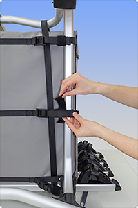 Each belt end can be secured quickly with hook-and-loop fastener.