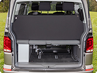 The iXTEND folding bed can also be transported folded on the VW multiflex board if the bench is pushed back completely.