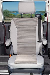 "Second Skin for 1 rotary seat in 2nd seating row VW T6.1 design: ""Mixed Dots/Palladium"""