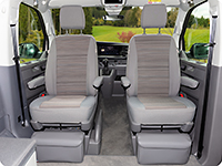 "Second Skin for cabin seats (only for seats without electric adjustment) of the VW T6.1 California Coast / California Beach in the design ""Mixed Dots/Palladium"""
