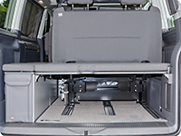 All Second Skin seat covers for the 2-seater bench of the VW T6.1 California have a big storage bag with zipper in the backrest which adapts perfectly to the gap in the backrest.
