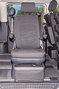 "Second Skin for 1 rotary seat in 2nd seating row VW T6.1 Multivan / California Beach in the design ""Circuit/Titanium Black"""