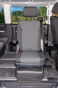"Second Skin for 1 rotary seat in 2nd seating row VW T6.1 Multivan / California Beach in the design ""Quadratic/Titanium Black"""