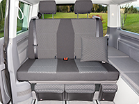 "Second Skin for 2-seater bench VW T6.1 Multivan / California Beach in the design ""Quadratic/Titanium Black"""