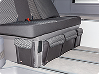 "UTILITIES for the bedding box VW T6.1 California Beach with 2-seater bench, design VW T6.1 ""Quadratic/Leather Titanium Black"""