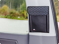 "UTILITY for bedding box (2-seater bench), right side and pillar D, right side VW T6.1 California Beach, design ""Quadratic/Leather Titanium Black"""