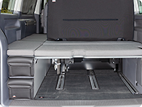 "UTILITY with 2 pockets for the back and front of the stowage box VW T6.1 California Beach with 2-seater bench, design ""Leather Palladium"""
