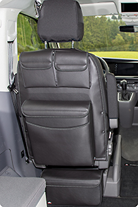 "UTILITY with MULTIBOX Maxi for cabin seats VW T6.1/T6/T5 California Beach / Multivan, design VW T6.1 ""Leather Titanium Black"""