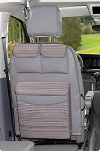 "UTILITY with MULTIBOX Maxi for cabin seats VW T6.1 California Beach, Design VW T6.1 ""Mixed Dots/Leather Palladium"""