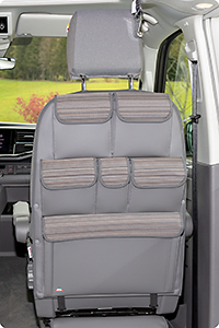 "UTILITY for cabin seats VW T6.1/T6/T5 California Coast/Beach, design VW T6.1 ""Mixed Dots/Leather Palladium"""