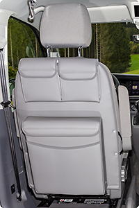 "UTILITY with MULTIBOX Maxi for cabin seats VW T6.1/T6/T5 California Beach / Multivan, design VW T6.1 ""Leather Palladium"""