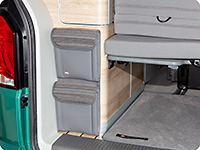 "UTILITY for the rear wardrobe, 2 bags, VW T6.1 California Coast, design VW T6.1 ""Mixed Dots/Leather Palladium"""