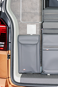 "UTILITY for the rear wardrobe ""Shower bag"", VW T6/T5 California Ocean, Coast, Comfortline, design ""Leather Moonrock Grey"""