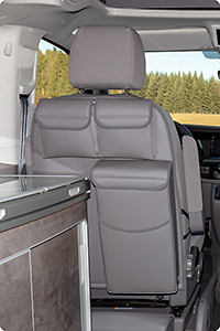 "UTILITY with MULTIBOX for the left cabin seat VW T6.1/T6/T5 California Ocean/Coast/Comfortline/Trendline, Design VW T6.1 ""Leather Palladium"""