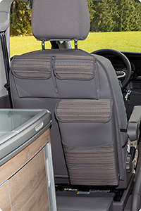 "UTILITY with MULTIBOX for the left cabin seat VW T6.1 California Coast, Design VW T6.1 ""Mixed Dots/Leather Palladium"""
