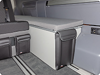 "UTILITY with 1 pocket for the back and front of the stowage box VW T6.1 California Beach with 2-seater bench, design ""Leather Palladium"""