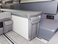"UTILITY for the rear wardrobe ""Shower bag"", VW T6.1 California Ocean / Coast and Beach with 2-seater bench (for the back and front of the stowage box), design ""Leather Palladium"""