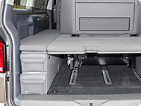 "UTILITY for the back and front of the stowage box VW T6.1 California Beach with 2-seater bench, design ""Leather Palladium"""