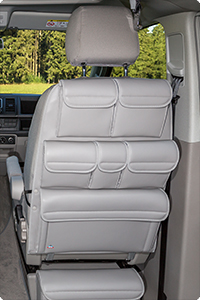 "UTILITY for cabin seats VW T6/T5 California Ocean/Coast/Comfortline/Trendline/Beach / Multivan. Design: ""Leather Moonrock Grey""."