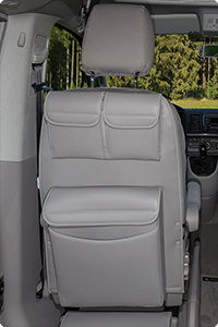 "UTILITY with MULTIBOX Maxi for cabin seats VW T6/T5 California Beach / Multivan. ##Design ""Leather Moonrock Grey""."