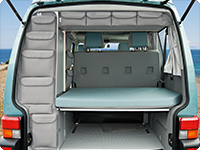 "UTILITIES VW T4 for roof storage box and rear wardrobe, ""Moonrock Grey""."