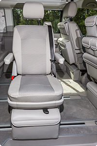 "Second Skin for rotary seat in 2nd seating row VW T6 California Beach. Design ""Pilion/Moonrock Grey""."