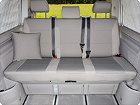"Seat covers for 3-seater bench VW T6 California Beach, design ""Pilion/Moonrock Grey""."