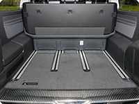 "Boot carpet VW T6/T5 Multivan and California Beach from 2010, design ""Titanium Black""."