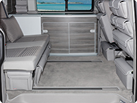 "Velour carpet for passenger compartment VW T6/T5 California Ocean, Coast, Comfortline with 2 rails,  ##design ""Moonrock Grey"""