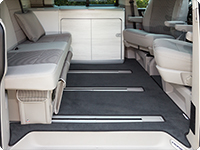 "Velour carpet for passenger compartment VW T6/T5 California Ocean, Coast, Comfortline with 3 rails,  ##design ""Titanium Black"""