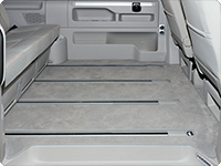 "Velours carpet for passenger compartment, VW T6/T5 California Beach with 3-seater bench (as from 2011) and all Multivan (Startline as from 2011) with 1 sliding door, design ""Moonrock Grey"""